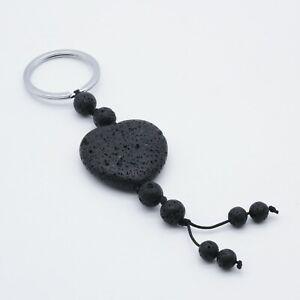 Lava Stone Heart Keychain Keyring Crystal Love Reiki Healing UK Seller