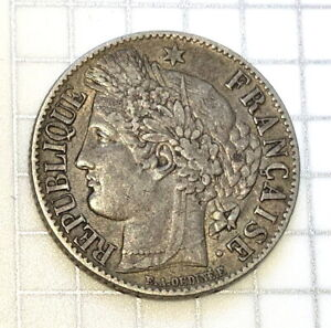 France Silver 1 Franc - 1849A - 2nd Republic Scarce Date Nice Color and Details!