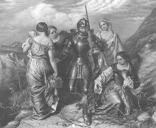 HEROIC MEDEIVAL KNIGHT IN ARMOR & PRETTY GIRLS WOMEN ~ 1864 Art Print Engraving