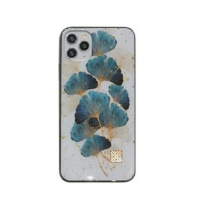 MOBILE PHONE CASE/COVER APPLE IPHONE 7/8/11/12/PRO GREEN/BLUE/GOLD FLOWERS TPU
