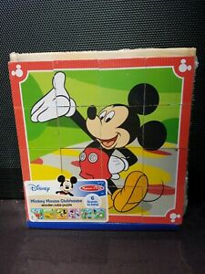 Melissa & Doug Disney Mickey Mouse Wooden Cube Puzzle 6 in 1 with Tray NIP
