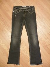 Womens MEK Denim Oaxaca Bootcut Stretch Faded Black Gray Distressed Jeans 27 34