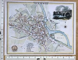 """Old Victorian antique map Derby, England: 1830s Cole & Roper 12"""" x 9"""" Reprint"""