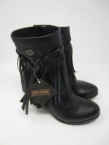NEW Harley Davidson Women's Retta boot 3 inch stacked heel black leather size 8
