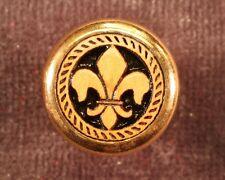 Strap Button, Gold, Oversize, with engraved Fleur-De-Li