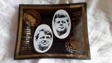 JOHN F KENNEDY & ROBERT F KENNEDY VINTAGE TRINKET GLASS DISH GOLD TRIM PRESIDENT