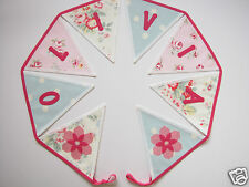 PERSONALISED BUNTING CATH KIDSTON FABRIC Trailing Floral + Blue Spot £2 per flag