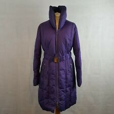 EDINA RONAY Womens Winter Coat Purple UK12 Puffer Quilted Feather Down Belted