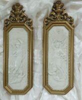 VINTAGE Wall Plaques ANGEL Goddess HOLLYWOOD REGENCY GOLD GILT HOMCO