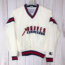 Starter Braves Baseball White V Neck Windbreaker Pullover Jacket Adult Small Sm