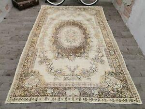 Oriental Design Saloon Rug, Handmade Bohemian Turkish Rug, Wool Carpet 6.2x9.5ft