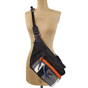 NEW $1270 PRADA Black Gray Orange Nylon Saffiano Trim SPORT CROSSBODY Travel BAG