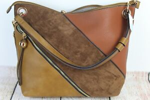 Sandra Roberts Squared Brown Hobo Sueded Leather Cognac Purse Handbag (D)