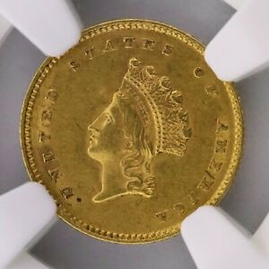 1854 Type 2  G$1 AU58 NGC Gold Princess Dollar