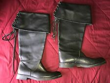 10 Native Earth Cavalier black leather knee-high pirate renaissance riding boots