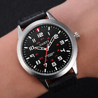 Men's Military Leather Band Watch Quartz Analog Army Casual Dress Wrist Watches