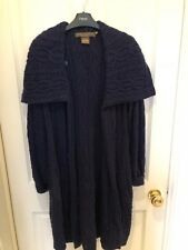 Navy Merino Wool Cable Knit Long Cardigan, Size M