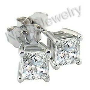1.44 Ct. Princess Cut Diamond Stud Earrings VSI-F