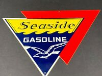 "VINTAGE SEASIDE MARINE GASOLINE 12"" DIE-CUT METAL GAS & OIL ADVERTISEMENT SIGN"