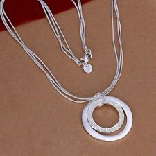 Fashion Silver Plated Long Chain Double Circle Pendant Sweater Necklace Jewelry