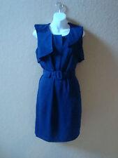 New Asos Zip Up Fold Neck Navy Dress UK 16 US 12