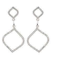Cubic Zirconia Drop Earrings Sterling Silver Drops Platinum Plated Open Teardrop
