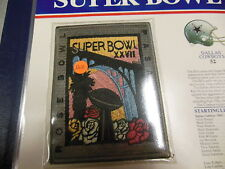'93 Super Bowl Xxvii Replica Patch With Game Nfl Football Notes Cowboys Bills!