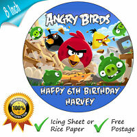 ANGRY BIRDS BIRTHDAY CAKE EDIBLE ROUND BIRTHDAY CAKE TOPPER DECORATION
