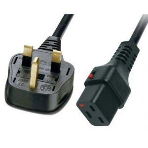 Power Cable Mains UK Male Plug to IEC C19 Female Socket Lock 2m
