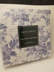 Laura Ashley Vanessa 4 pc Queen Sheet Set Blue Toile Floral Flowers 100% Cotton