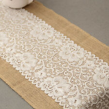 30CM*1.8M Vintage Burlap Lace Hessian Table Runner Natural Jute Wedding Decor ao