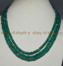 """3Rows Natural 4X6mm Faceted Green Emerald Rondelle Beads Gems Necklaces 17-19"""""""