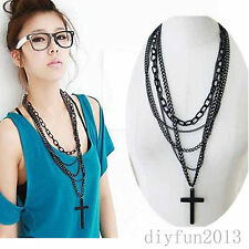 Fashion Women Lady Vintage Cross Pendant Long Chain Necklace Sweater Chain New