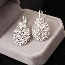 925 Sterling Silver Lovely Women Crystal Rhinestone Earrings Elegant Jewelry