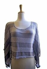 Pretty Good Green Striped Blouse Top Size S Batwing Sleeve Women's