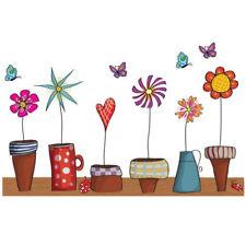 Cute Flower Butterfies Wall Sticker Kitchen Window Kids Rooms Home Decor Vinyl