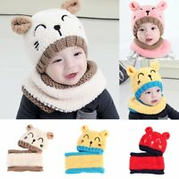 Toddler Kids Girl&Boy Baby Infant Winter Warm Crochet Knit Hat Bear Beanie Cap