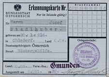 Nr.21365 Erkennungskarte Ausweis  Ohlsdorf Gmunden 1937 O.Ö.