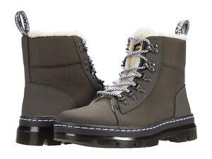 Women's Shoes Dr. Martens COMBS FAUX FUR Lace Up Combat Boots 26054029 GUNMETAL