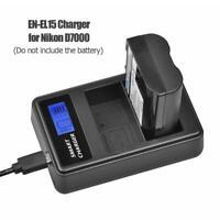 EN-EL15 LCD Display Dual Port USB Battery Charger for Nikon D7000 D800 D600 5V