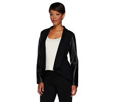 Women With Control Knit Jacket With Faux Leather Sleeves Size M Black Color