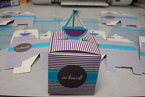 Nautical Favor Boxes; Baby on Board Theme Baby Shower; Nautical Thank you Gifts