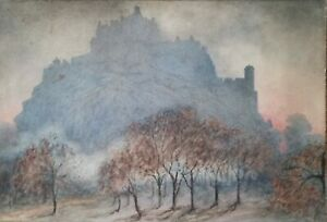 "EDINBURGH CASTLE watercolour by KATHLEEN MARESCAUX 21"" x 14.5"". Impressionist"