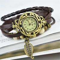 Weave Round Bracelet Leather Band Quartz Wrist Watches Leaf Pendant