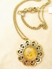 Lucky Brand Gold Tone Stone Flower Pendant Necklace JLRY5936 $49 NEW