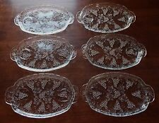 Set Of 6 ANCHOR HOCKING Pressed Clear Glass Grape & Cable Serving Snack Trays