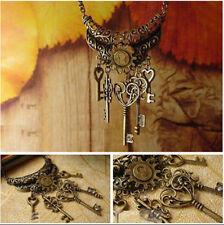 Modern Antique Bronze Key Pendant Necklace Long Sweater Decorative Chain Jewelry