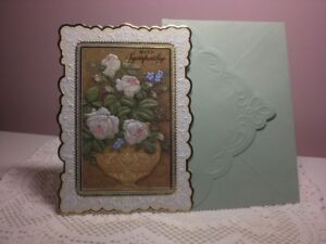 Carol's Rose Garden -  Sympathy card - Lovely Vase of Roses on front