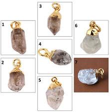 Super Sale Natural Rough Herkimer Diamond Aquamarine Gold Plated Charms Pendant