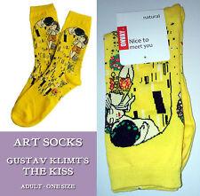 ART SOCKS Gustav Klimt THE KISS Yellow Ladies Mens ANKLE HIGH WOVEN DES Lovers